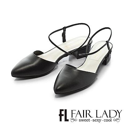 Fair Lady尖頭設計優雅繫帶粗跟涼鞋 黑