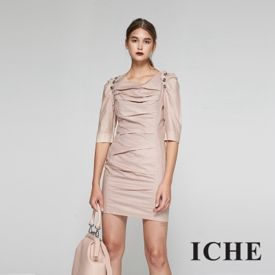 ICHE衣哲 設計款抓摺五分袖合身造型洋裝-藕粉