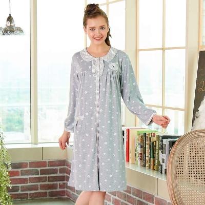 睡衣 精梳棉柔針織 長袖連身睡衣(65203)麻灰色 蕾妮塔塔