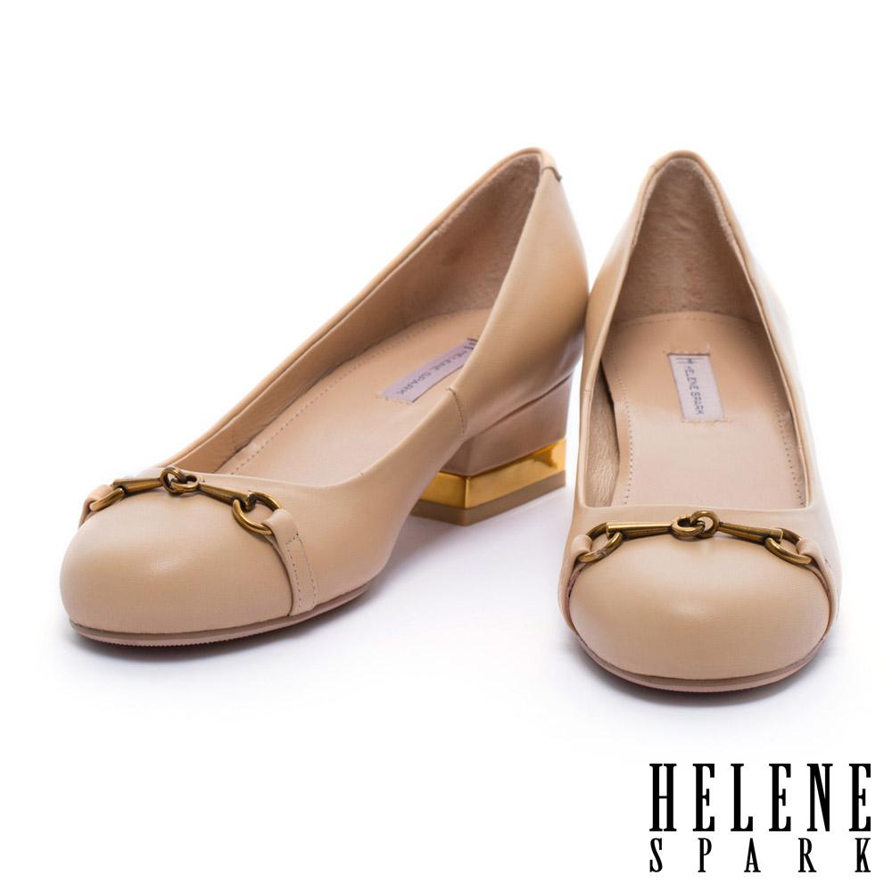 跟鞋 HELENE SPARK 復古風格全真皮圓頭粗跟鞋-米