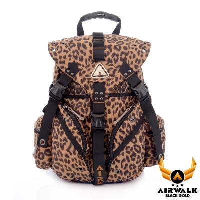 AIRWALK-黑金系列-限定花豹色三叉後背大包-叢林咖