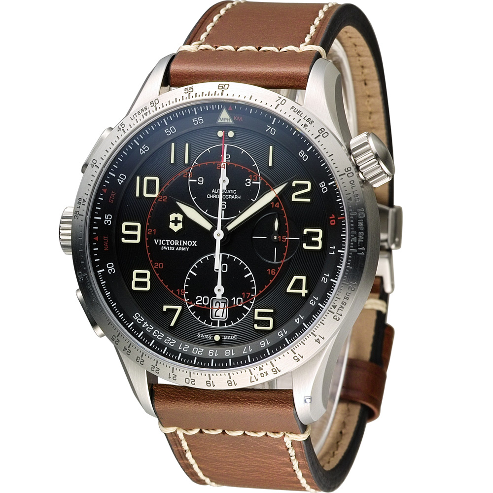 Victorinox維氏 Airboss MACH 9 自動上鏈機械計時碼錶-黑/45mm