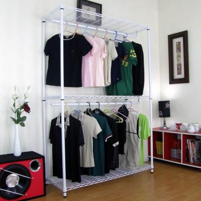 頂堅三層金屬鐵線網型(雙桿)吊衣架-素雅白色