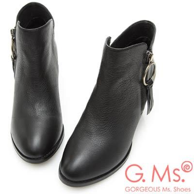 G.Ms. 牛皮銅環皮墜飾踝短靴-黑色