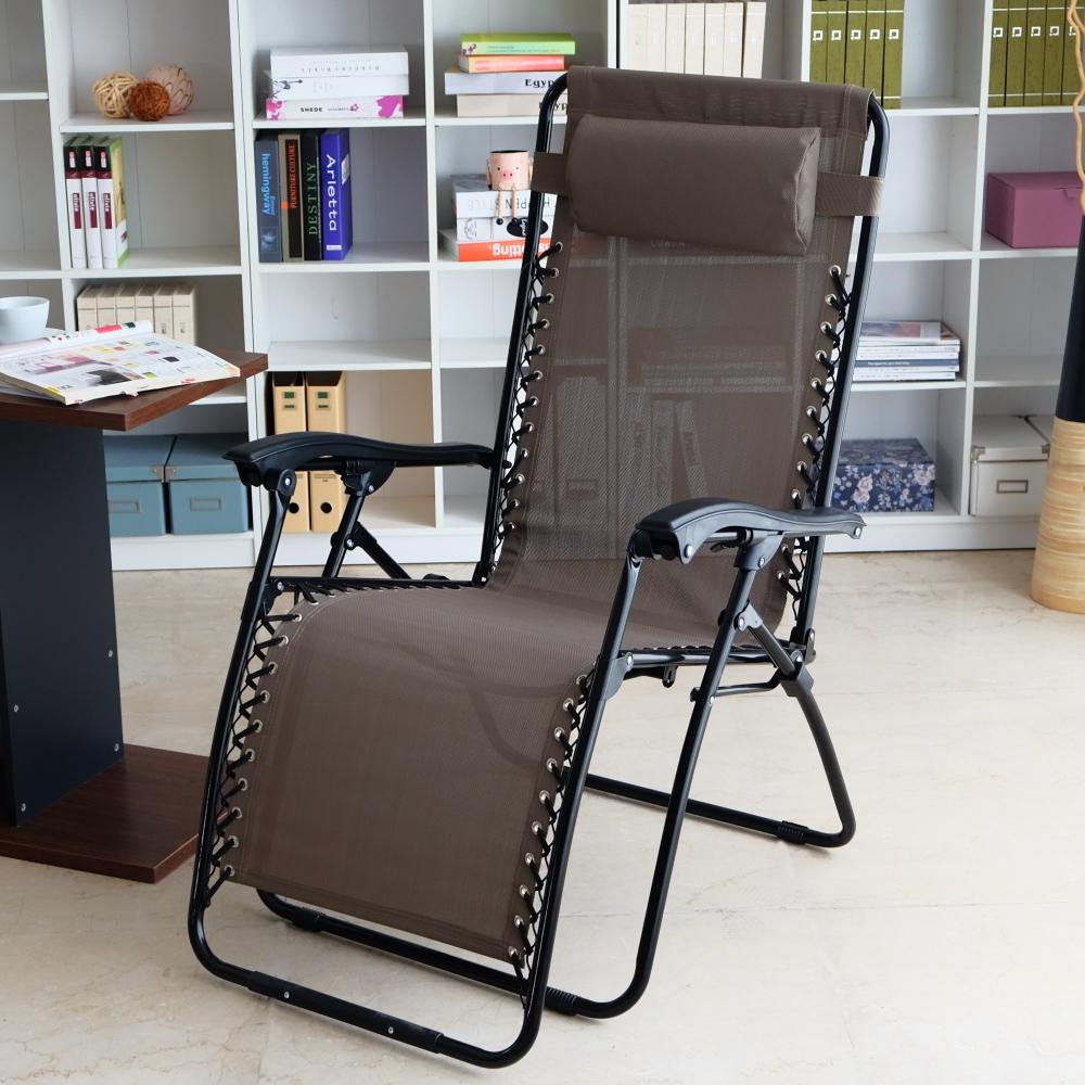 EASY HOME-加寬無段式休閒透氣躺椅-胡桃色 70x80x111cm
