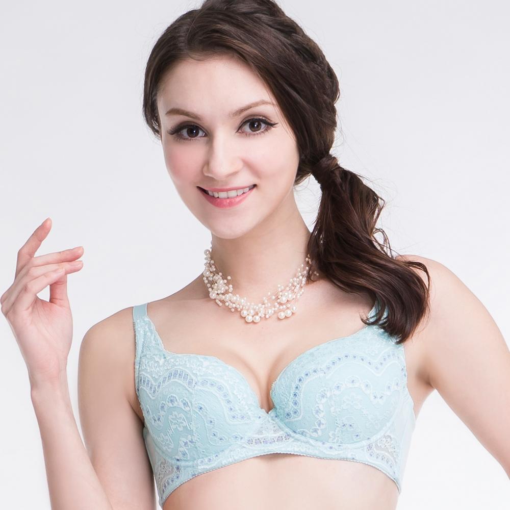 思薇爾 春露系列C-F罩包覆蕾絲內衣(寧靜藍)