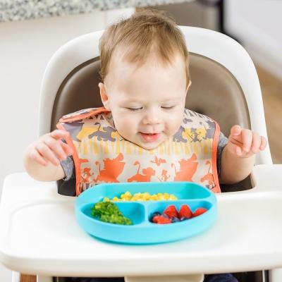【美國Bumkins】寶寶分格矽膠餐盤_藍BKGD-BLU
