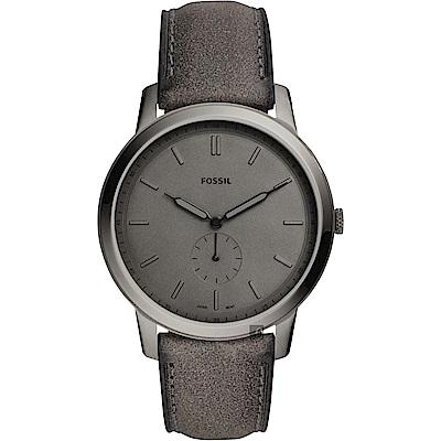 FOSSIL Minimalist 薄型簡約小秒針手錶(FS5445)-灰色/44mm
