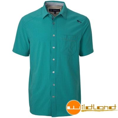 Wildland 荒野 0A31208-67湖水綠男 彈性細格紋抗UV排汗短襯衫