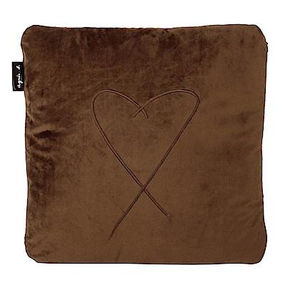 agnes b. logo愛心繡線方型抱枕-咖啡