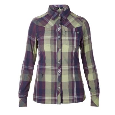 【Berghaus 貝豪斯】女款銀離子抗UV長袖襯衫S05F01-紫/黃