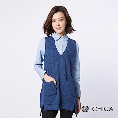 CHICA 氧氣女孩V領背心式設計上衣(3色)