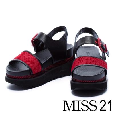 涼鞋 MISS 21 運動個性風牛皮拼接網布厚底涼鞋-紅