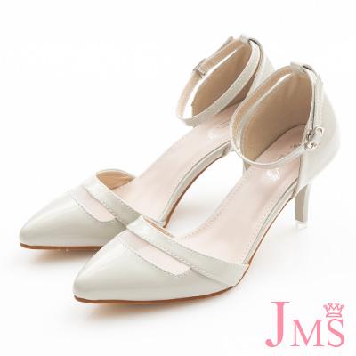 JMS-時尚鏤空尖頭漆皮繫帶中跟涼鞋-灰色