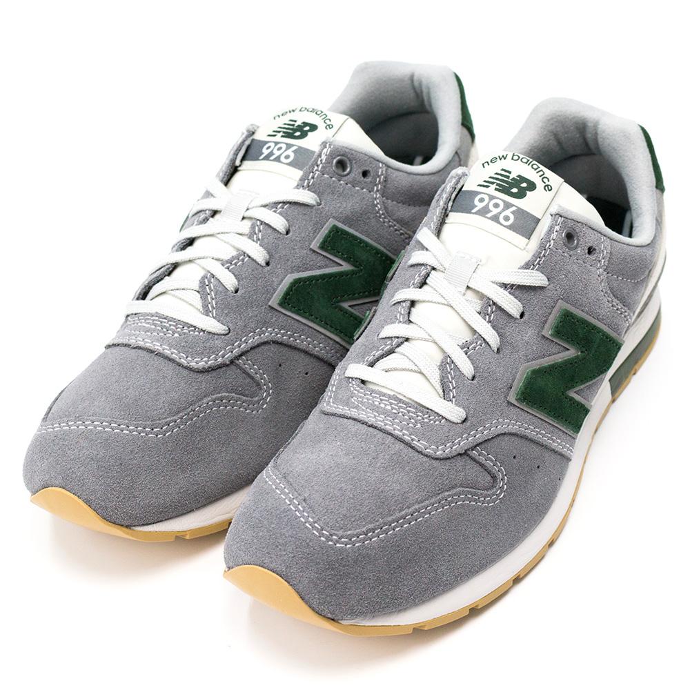 New Balance-996系列女復古慢跑鞋-灰綠