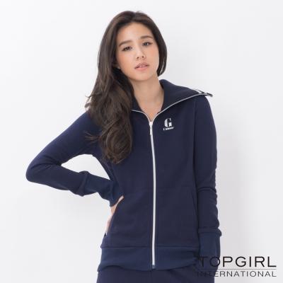 TOP-GIRL-帥氣大翻領造型針織外套-丈青藍