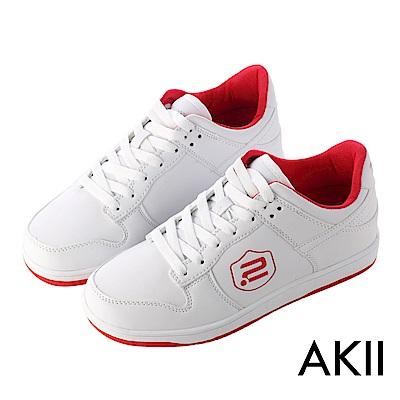【AKII】極簡時尚內增高休閒鞋 ↑7cm 白