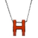 HERMES H POP款LOGO圓弧型項鍊(橘/銀)