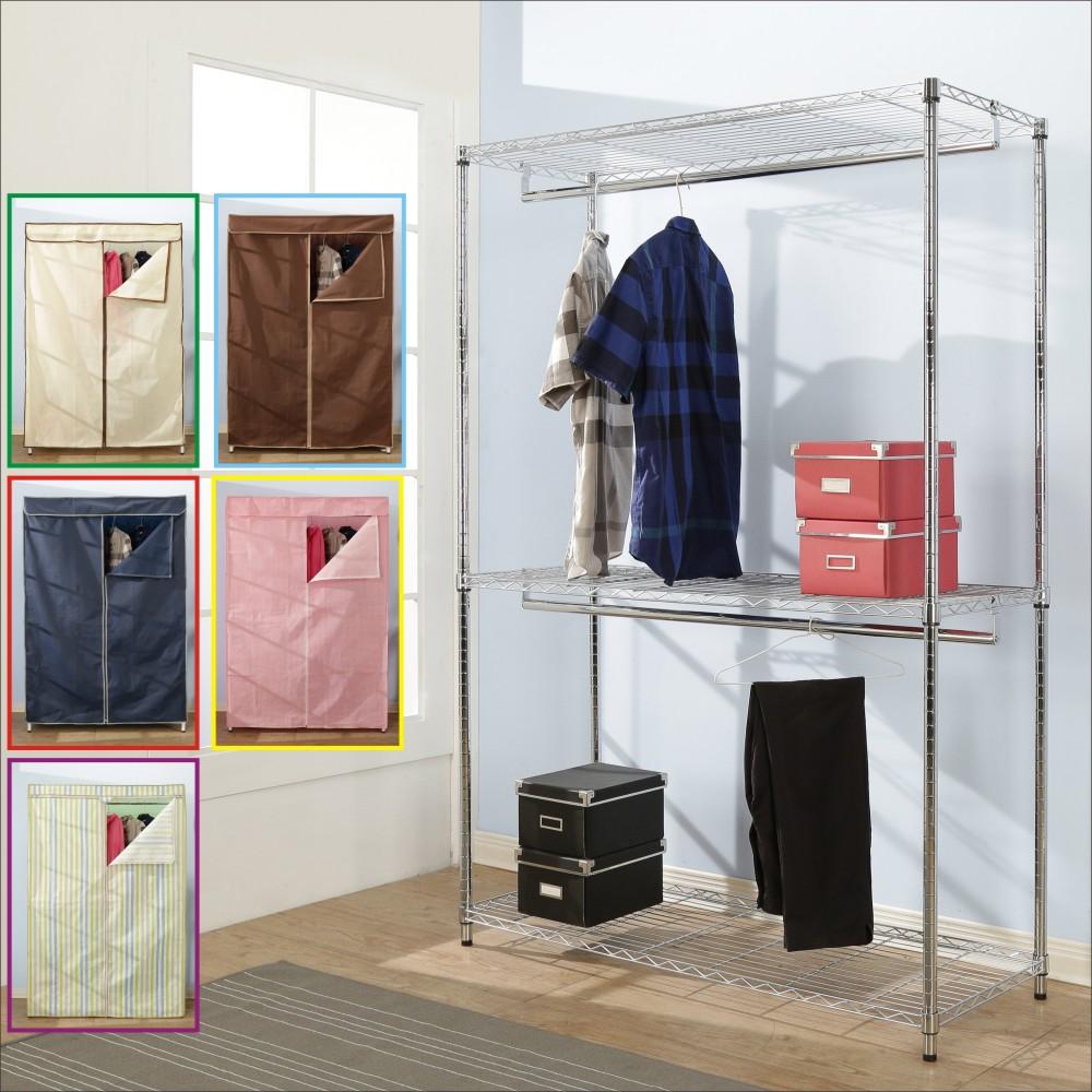 BuyJM鐵力士附布套三層雙桿衣櫥-DIY