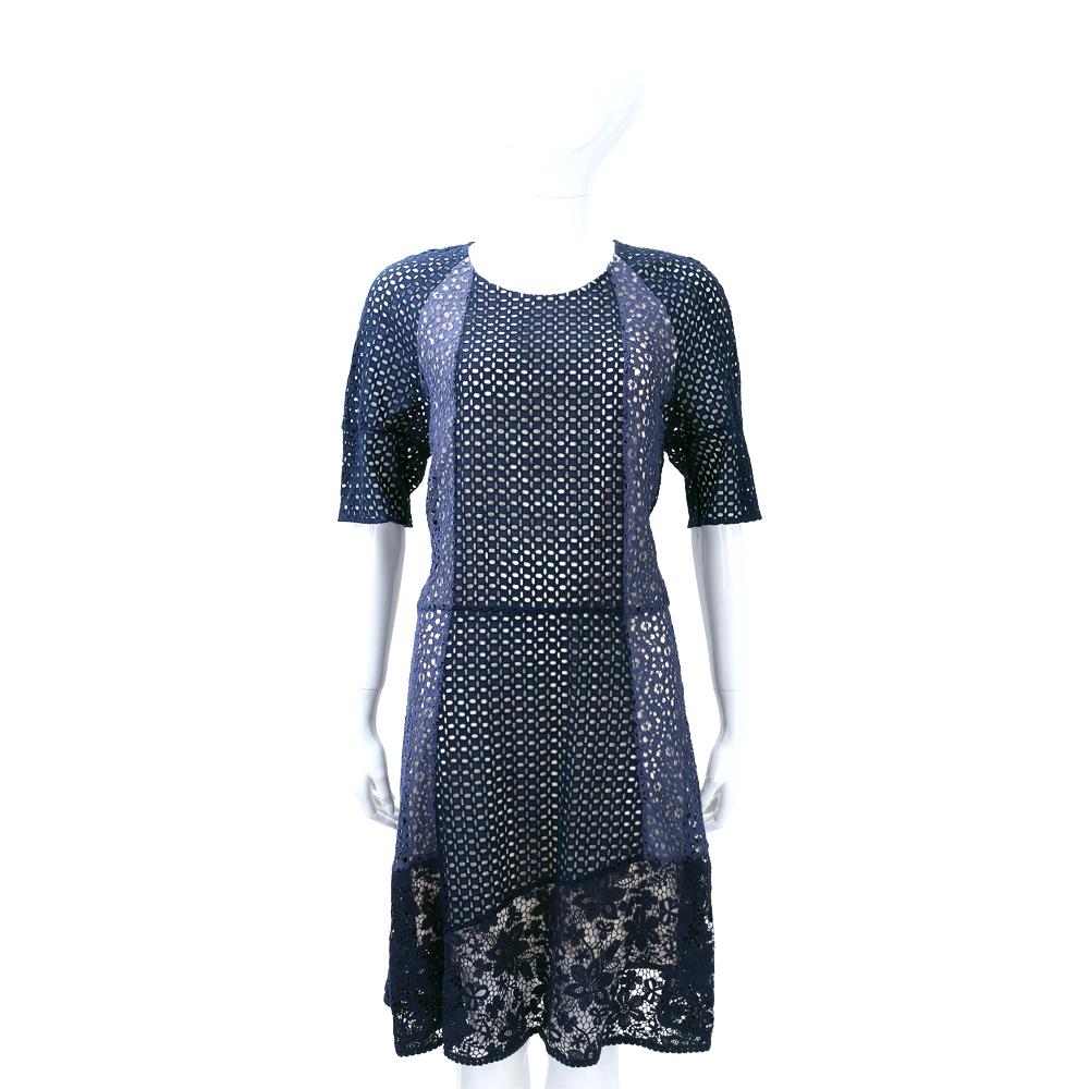 SEE BY CHLOE 深藍色洞洞拼接蕾絲短袖洋裝 @ Y!購物