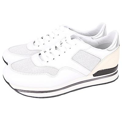 HOGAN H222 仿鴕鳥皮紋拼接厚底繫帶休閒鞋