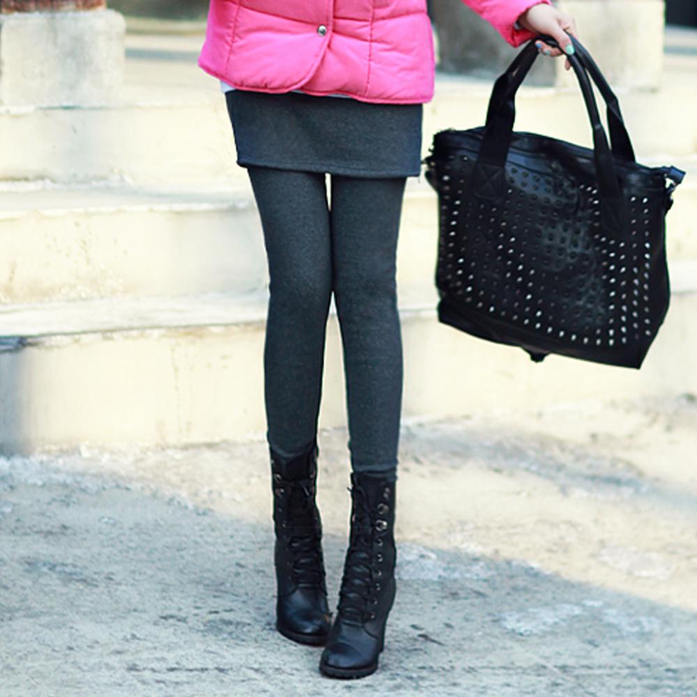 正韓 拉鏈拼接短裙刷毛保暖內搭褲 (共二色)-N.C21