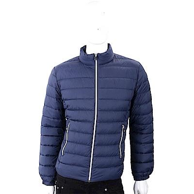 TRUSSARDI 經典皮革標藍色絎縫拉鍊輕羽絨夾克