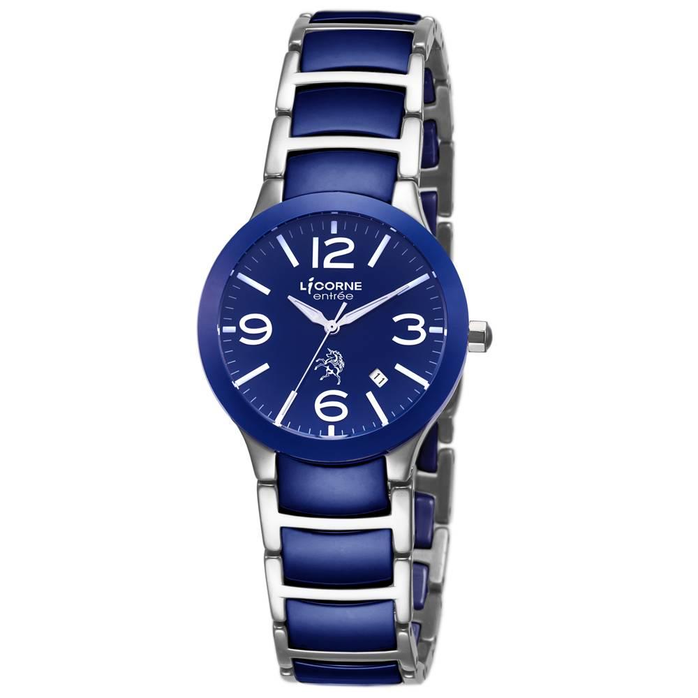 LICORNE力抗錶 經典雅致陶瓷手錶 藍x藍銀26mm