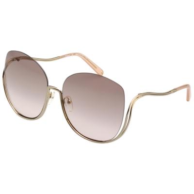 CHLOE金屬大框 太陽眼鏡-金框-粉色鏡片 CE125S