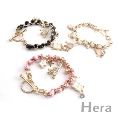 Hera赫拉 韓國飾品皮質編織垂墬鐵塔愛心手鍊(三色任選)