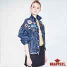 BRAPPERS 女款 Boy friend 系列-寬版落肩貼布牛仔外套-藍