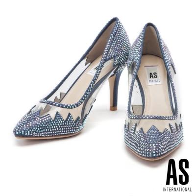 高跟鞋 AS 異材質拼接絢艷晶鑽鏤空羊皮尖頭高跟鞋-藍
