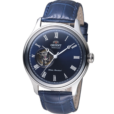 ORIENT 東方錶 SEMI-SKELETON 系列小鏤空機械錶-藍/43mm