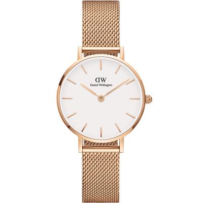 DW DanielWellington classic米蘭帶時尚手錶-白X玫瑰金/28mm