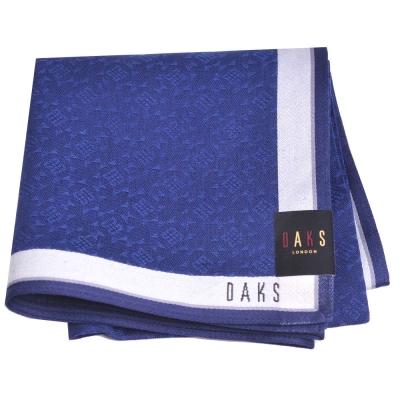 DAKS 圖騰品牌字母LOGO帕領巾(深藍系)