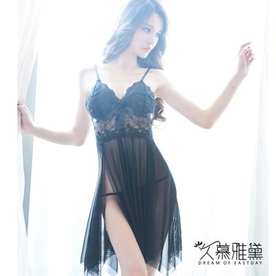 性感睡衣 飄逸蕾絲蝴蝶吊帶睡裙。黑色 久慕雅黛