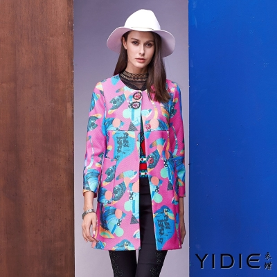 YIDIE衣蝶 花朵鑽飾鈕扣色彩外套
