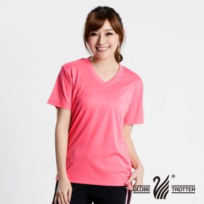 【遊遍天下】 MIT中性款輕量V領吸濕排汗機能衫S106粉紅