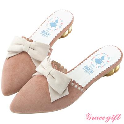 Disney collection by grace gift花邊金屬低跟穆勒鞋 粉
