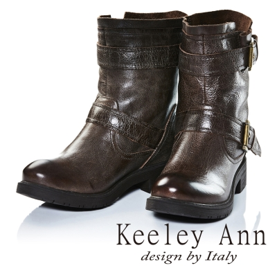 Keeley Ann街頭百搭雙繫帶綁帶真皮短靴(咖啡色)