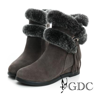GDC真毛-毛毛環繞側流蘇楔型真皮中筒雪靴-深灰色