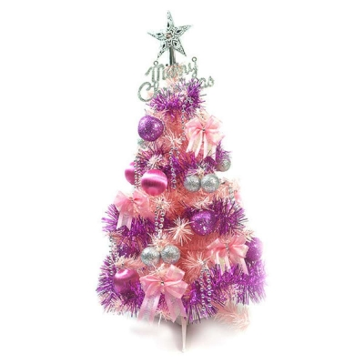 台製2尺(60cm)經典粉紅色聖誕樹(銀紫色系)