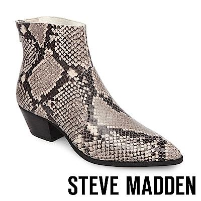 STEVE MADDEN-CAFE 真皮尖頭粗跟拉鍊短靴-蛇紋