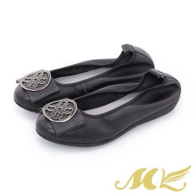 MK-Q彈系列-歐式窗花飾釦彈力娃娃鞋-黑色