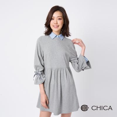 CHICA 浪漫情懷蝴蝶結荷葉袖設計洋裝(2色)