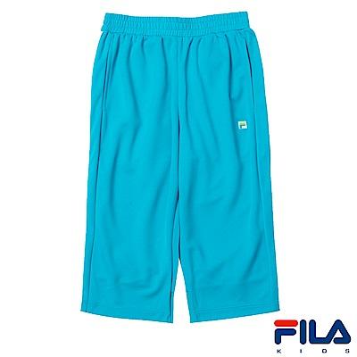 FILA KIDS 女童吸濕排汗短褲-藍綠5SHS-4418-TG