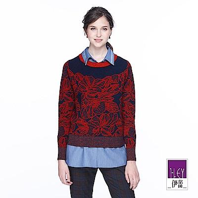 ILEY伊蕾 簡約配色裝飾蕾絲針織上衣(紅)
