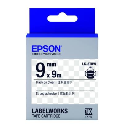 EPSON C53S653411 LK-3TBW高黏性透明底黑字標籤帶(寬度9mm)