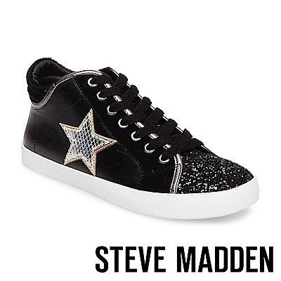 STEVE MADDEN-SAVIOR 星星綁帶高筒休閒鞋-黑色