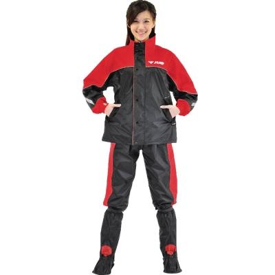 【JUMP】TV2套裝休閒風雨衣(M~4XL_黑紅)-急速配